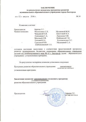 Заключение по результатам экспертизы программы развития МБДОУ д/с №45